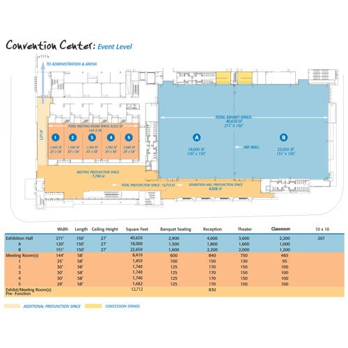 MassMutual Center Exhibition Level Map